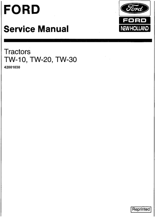 First Additional product image for - Ford TW10, TW20, TW30 Tractor Service Manual (SE3734)