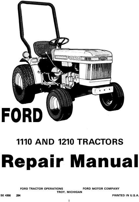 First Additional product image for - Ford 1110, 1210 Tractor Service Manual (SE4300)