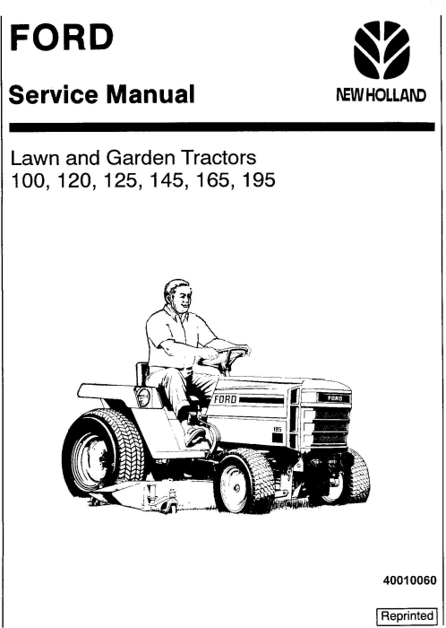 First Additional product image for - Ford Ford 100, 120, 125, 145, 165, 195 Lawn & Garden Tractor Service Manual