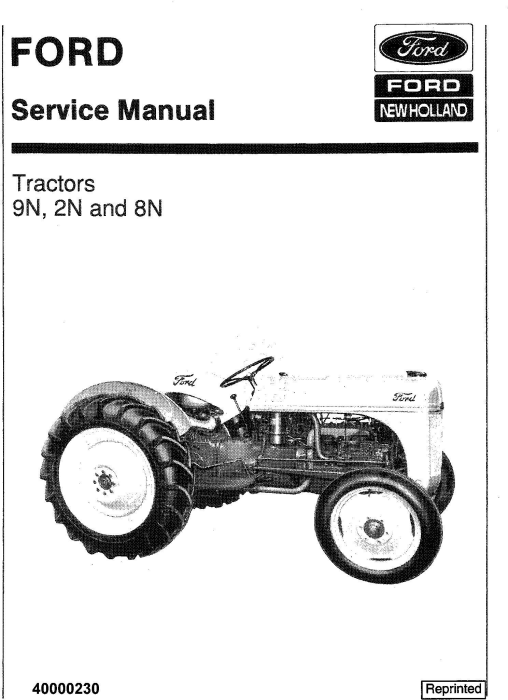 First Additional product image for - Ford 9N 2N 8N Ford Tractor Service Manual
