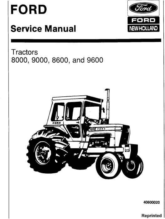 Ford 8000, 9000, 8600, 9600 Tractor Service Repair Manual