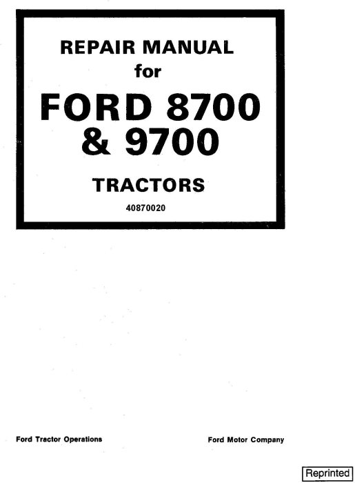 First Additional product image for - Ford 8700, 9700 Tractor Service Repair Manual (SE3700)