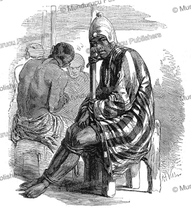 captured enemy waiting for his execution in the kingdom of dahomey, valentin, 1852