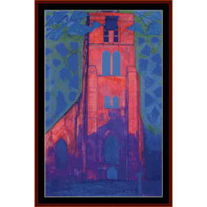 church tower of domburg - mondrian cross stitch pattern by cross stitch collectibles