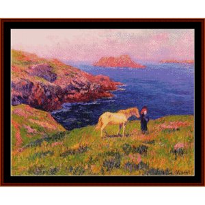 cliff at quessant - moret cross stitch pattern by cross stitch collectibles