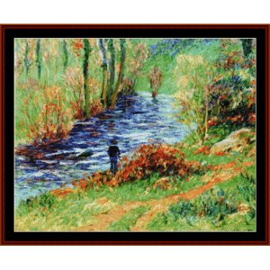 fisherman on the banks - moret cross stitch pattern by cross stitch collectibles