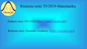 SVK-Matematika-Testovanie T9-2019-PDF+Videokurz | Other Files | Presentations