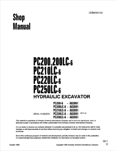 komatsu pc200-6, pc200lc-6, pc210lc-6, pc220lc-6, pc250lc-6 a82001 and up hydraulic excavator shop manual cebm000102 english