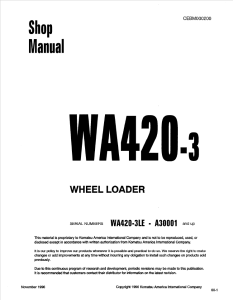 komatsu wa420-3, wa420-3le a30001 and up wheel loader shop manual cebm000200 english