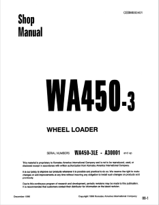 Komatsu WA450-3, WA450-3LE A30001 and up Wheel Loader Shop Manual CEBM000401 English | eBooks | Automotive