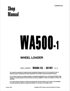 Komatsu WA500-1, WA500-1LE A61001 and up Wheel Loader Shop Manual CEBM000500 English | eBooks | Automotive