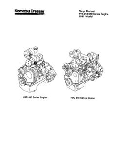 Komatsu Dresser KDC 410, KDC 610 1991 Model Series Engine 44566920 Diesel Engine Shop Manual CEBM610SH0 English | eBooks | Automotive