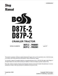 komatsu d87e-2, d87p-2 p090001 and up, p092001 and up crawler bulldozer/crawler tractor shop manual cebm004802 english