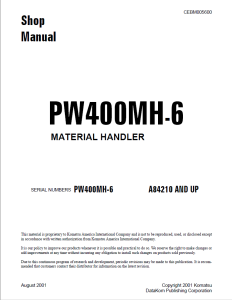 komatsu pw400mh-6 a84210 and up wheeled excavator/material handler shop manual cebm005600 english