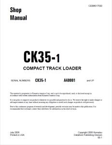 komatsu ck35-1 a40001 and up skid steer loader/compact track loader shop manual cebm017500 english