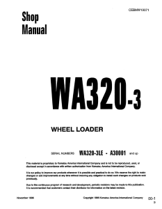 Komatsu WA320-3, WA320-3LE A30001 and up Wheel Loader Shop Manual CEBMW19071 English | eBooks | Automotive