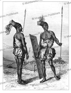 mombuttu (mangbetu) warriors of congo, oscar-pierre mathieu, 1873