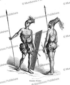 mombuttu (mangbetu) warriors, central africa, paul philippoteaux, 1873