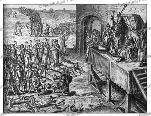 the manikongo rulers giving audience to his subjects and portuguese visitors, theodoor de bry, 1609