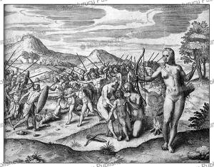 female warriors (amazons) of the emperor of monomotapa (mutapa) in zimbabwe, theodoor de bry, 1609