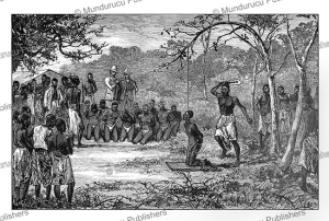 the execution of slaves by the wakuti, bannister and henry morton stanley, congo, 1885