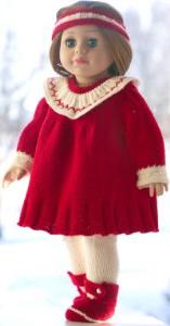 dollknittingpatterns 0203d julie - kjole, hårbånd, strømpebukser og sko-(norsk)