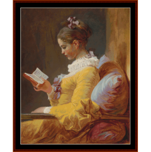 the reader - fragonard cross stitch pattern by cross stitch collectibles