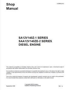komatsu sa12v140z-1 series, saa12v140ze-2 series diesel engine shop manual cebm002603 english
