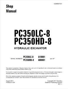 komatsu pc350lc-8, pc350hd-8 a10001 and up, a00001 and up hydraulic excavator shop manual cebm007501 english