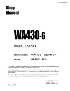 komatsu wa430-6 a42001 and up wheel loader shop manual cebm008201 english