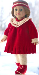 dollknittingpattern  0203d julie - dress, pants, jacket, hairband and socks-(english)