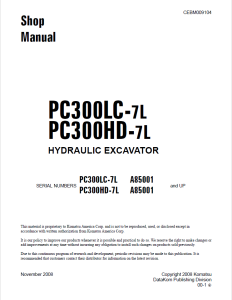 komatsu pc300lc-7l, pc300hd-7l a85001 and up hydraulic excavator shop manual cebm009104 english