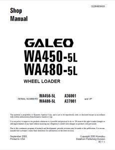 komatsu wa450-5l, wa480-5l galeo a36001 and up, a37001 and up wheel loader shop manual cebm009605 english