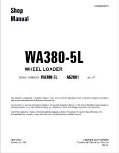 komatsu wa380-5l a52001 and up wheel loader shop manual cebm009703 english
