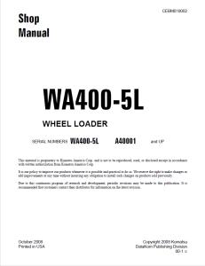 komatsu wa400-5l a40001 and up wheel loader shop manual cebm010002 english
