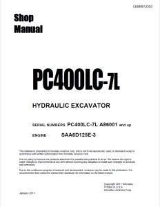komatsu pc400lc-7l a86001 and up hydraulic excavator shop manual cebm012503 english