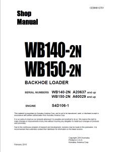 komatsu wb140-2n, wb150-2n a20637 and up, a60029 and up backhoe loader shop manual cebm012701 english