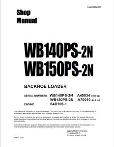 komatsu wb140ps-2n, wb150ps-2n a40034 and up, a70010 and up backhoe loader shop manual cebm012801 english