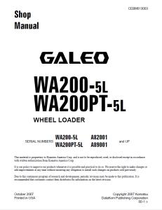 komatsu wa200-5l, wa200pt-5l galeo a82001 and up, a89001 and up wheel loader shop manual cebm013003 english