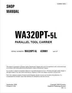 komatsu wa320pt-5l parallel tool carrier a39001 and up wheel loader shop manual cebm013602 english
