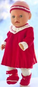 dollknittingpatterns 0203d julie - jurk, broek, haarband en schoentjes-(nederlands)