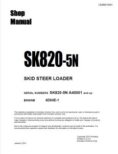 komatsu sk820-5n a40001 and up skid steer loader shop manual cebm016001 english