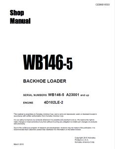 Komatsu WB146-5 A23001 and up Backhoe Loader Shop Manual CEBM016503 English | eBooks | Automotive