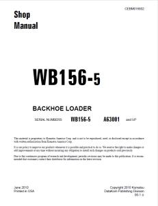 Komatsu WB156-5 A63001 and up Backhoe Loader Shop Manual CEBM016602 English   eBooks   Automotive