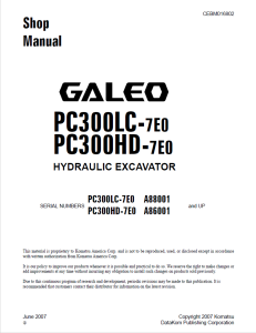 komatsu pc300lc-7e0, pc300hd-7e0 galeo a88001 and up, a86001 and up hydraulic excavator shop manual cebm016802 english