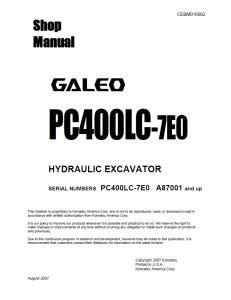 komatsu pc400lc-7e0 galeo a87001 and up hydraulic excavator shop manual cebm016902 english