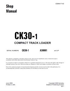 komatsu ck30-1 a30001 and up compact track loader shop manual cebm017100 english