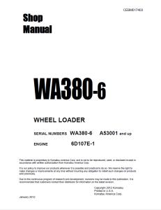 komatsu wa380-6 a53001 and up wheel loader shop manual cebm017403 english