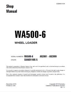 komatsu wa500-6 a92001 - a92999 wheel loader shop manual cebm018104 english