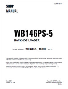 Komatsu WB146PS-5 A43001 and up Backhoe Loader Shop Manual CEBM018501 English | eBooks | Automotive